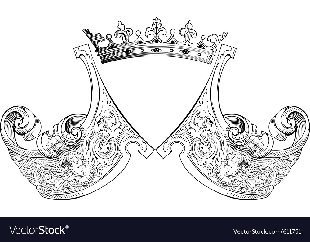Crown heraldry composition