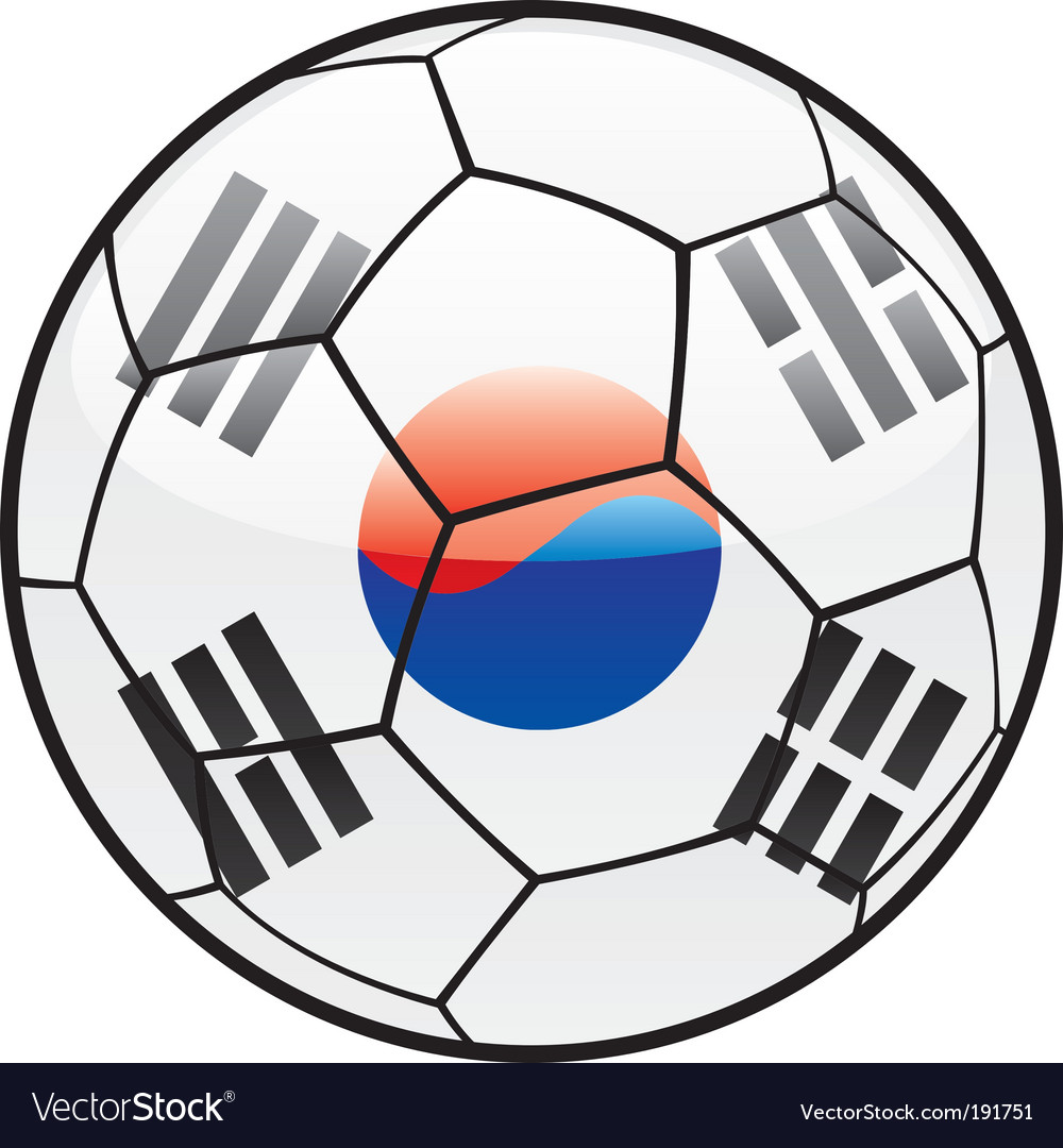 Flag of south Korea on soccer ball vector image