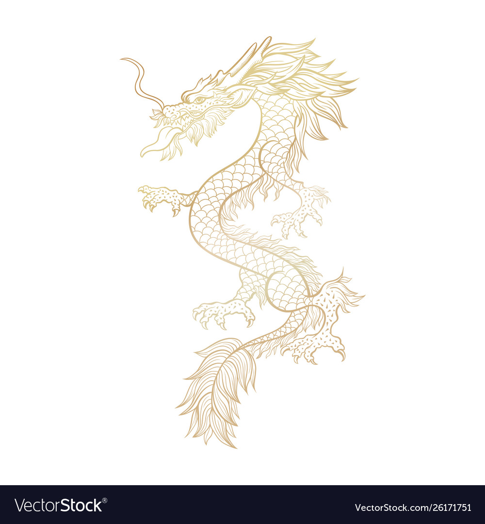 Gold outline chinese mythic dragon cut file