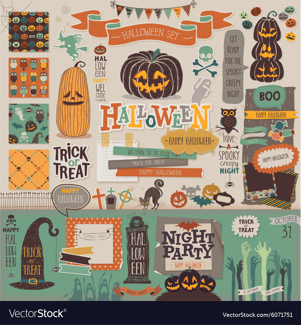 Halloween scrapbook set - decorative elements