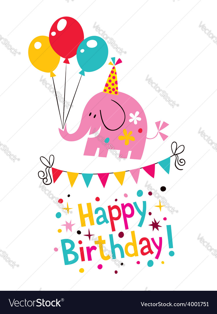 Happy birthday elephant card vector image