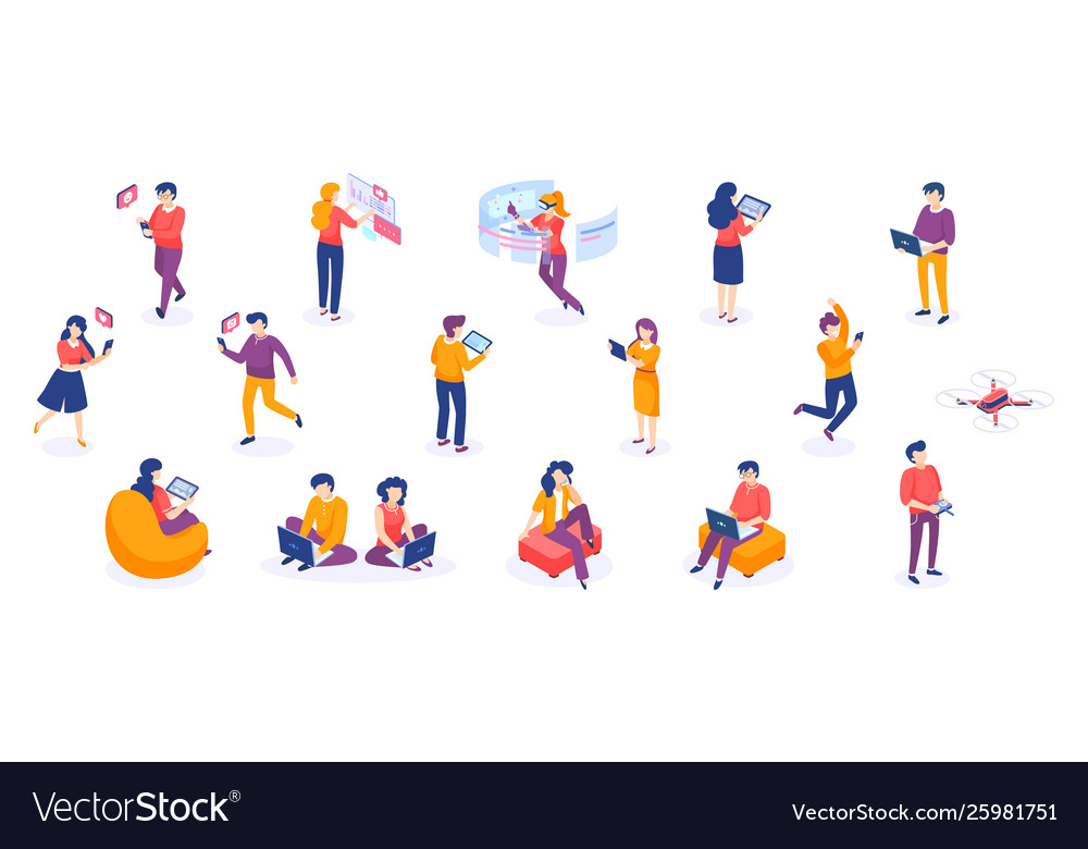 Isometric people and gadgets young men and women