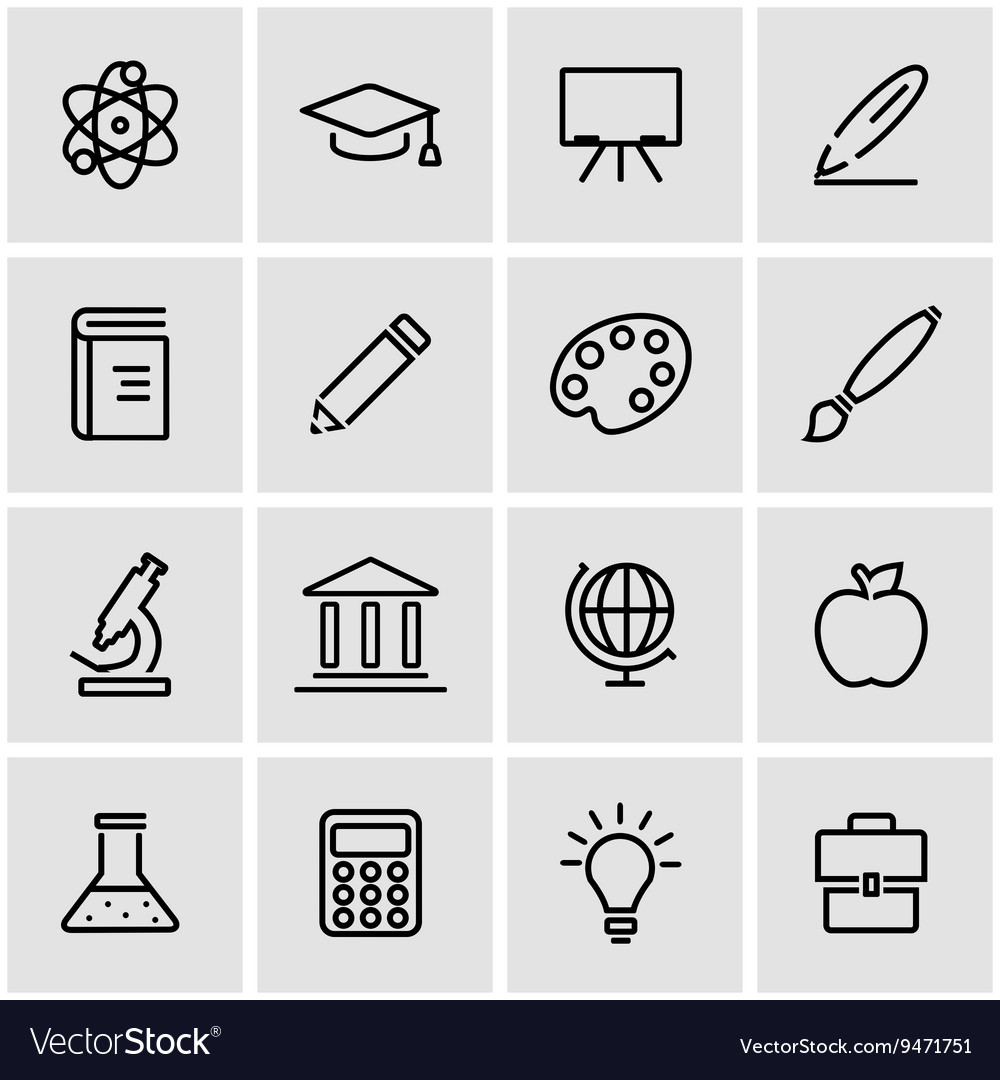 Line education icon set