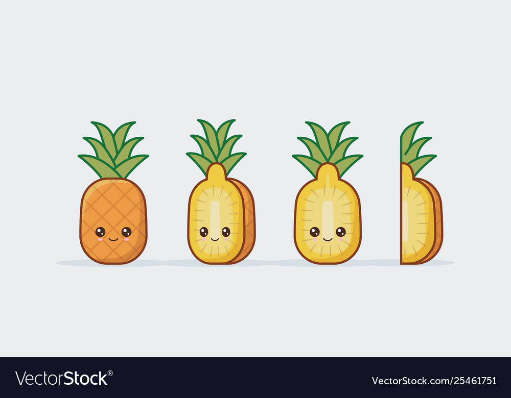 Pineapple Fruit Set Cute Kawaii Food Faces