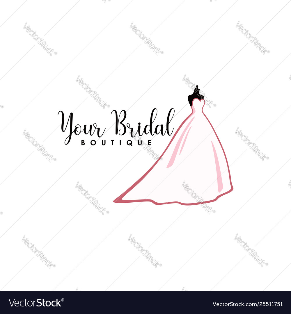 Pink bridal boutique logo icon sign mannequin
