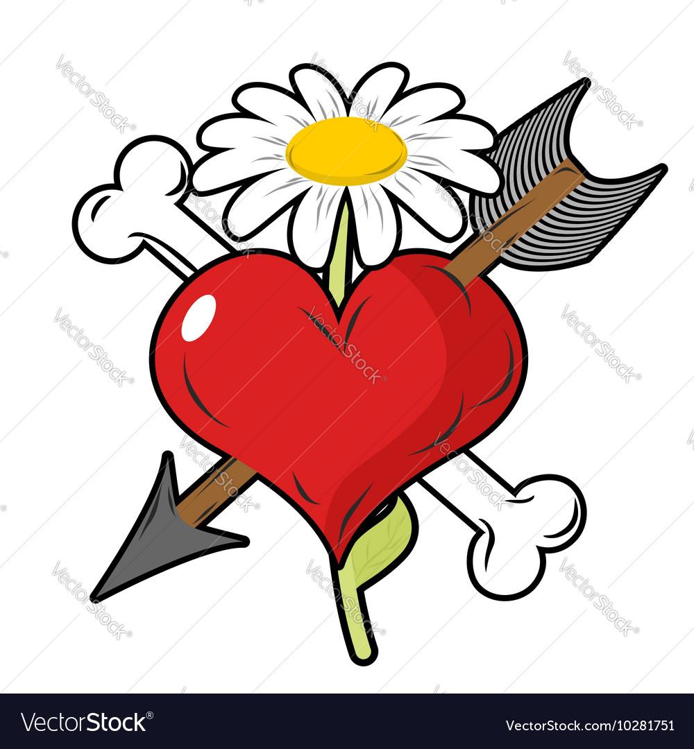 Red heart piercing arrow symbol of love Bone is