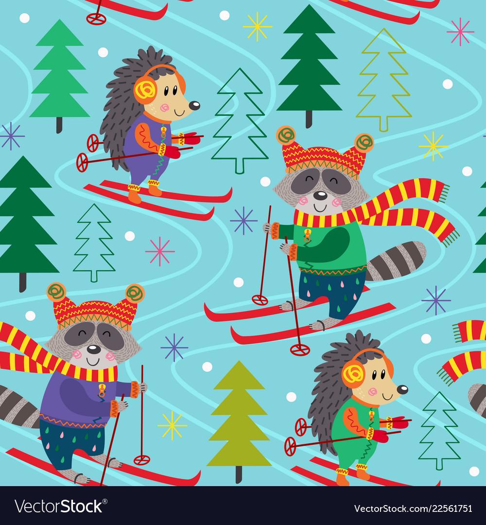 Seamless pattern winter fun with animals on ski