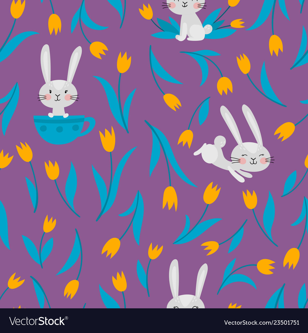 Seamless pattern with rabbits and tulips on