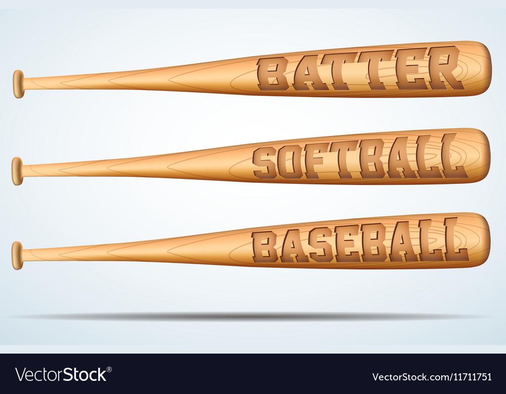 Set Of Wooden Baseball Bat