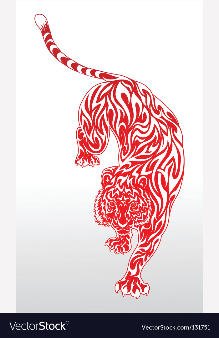 Tiger Tattoo 2 Red Outline Vector. Artist: kuzzie; File type: Vector EPS
