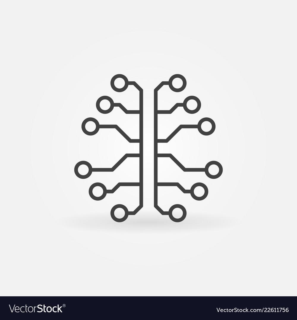 Artificial intelligence brain line icon