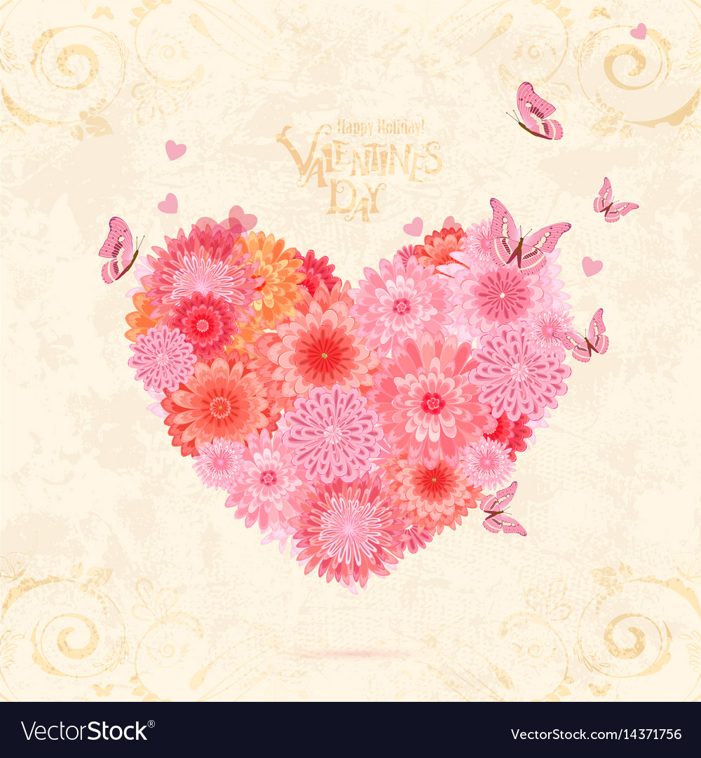 Floral valentine from pink chrysanthemums with