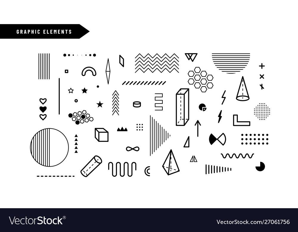 Geometric graphic elements set geometrical