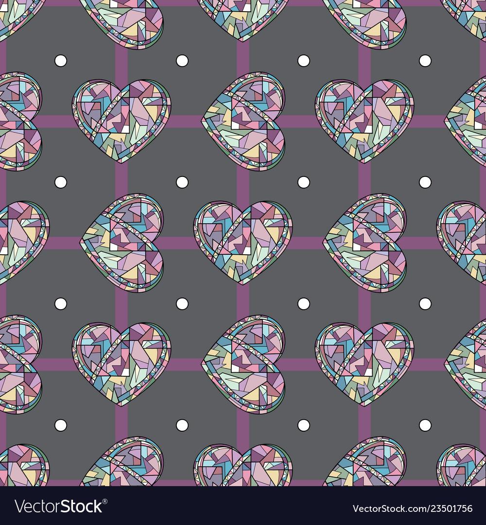 Hearts hand drawn seamless pattern