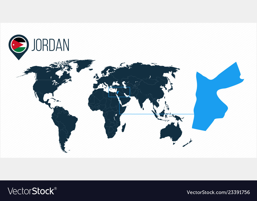 Jordan location on the world map for infographics Vector Image