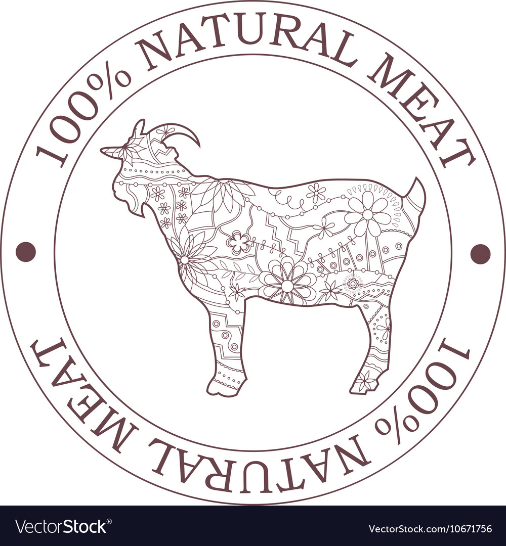 Natural meat stamp with goat