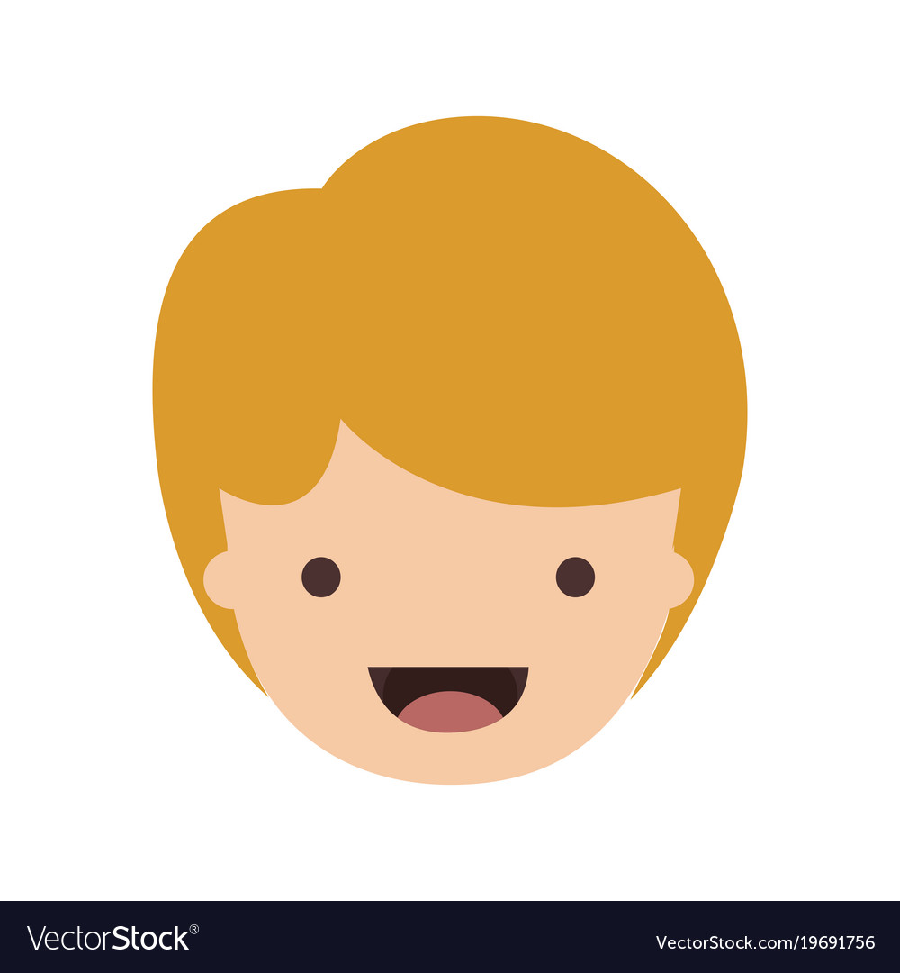 People Graphic Face Of Kid With Short Hair In Vector Image