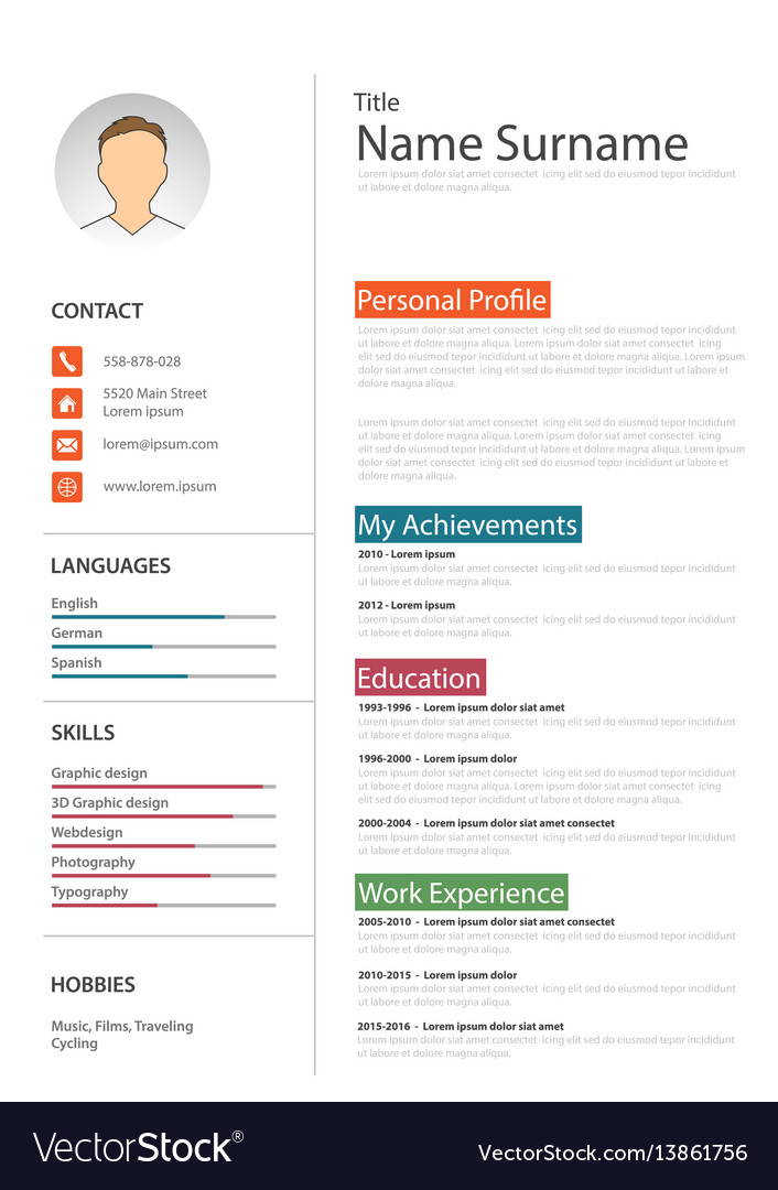 Professional white resume cv template Royalty Free Vector