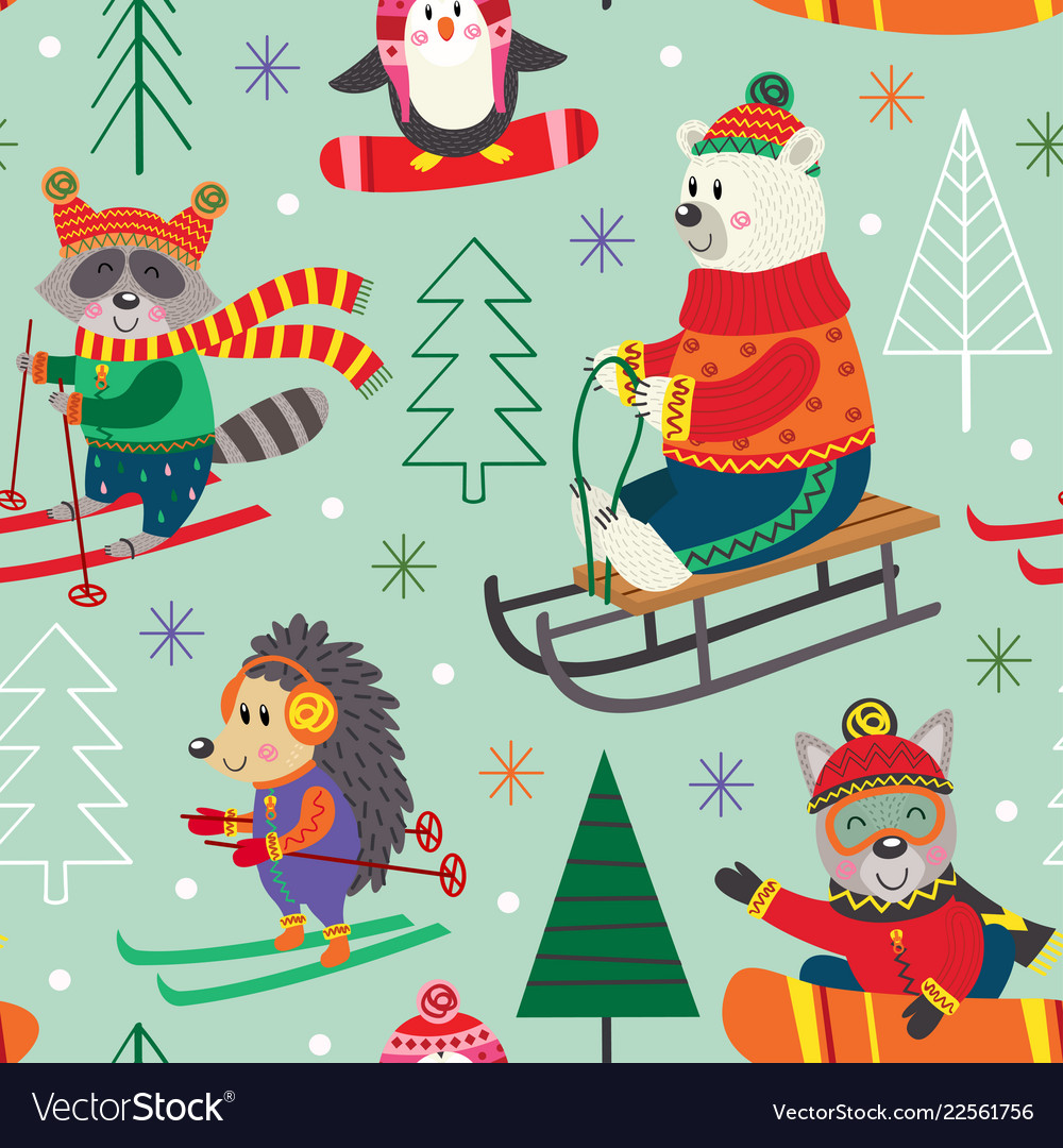 Seamless pattern winter fun with animals on sled