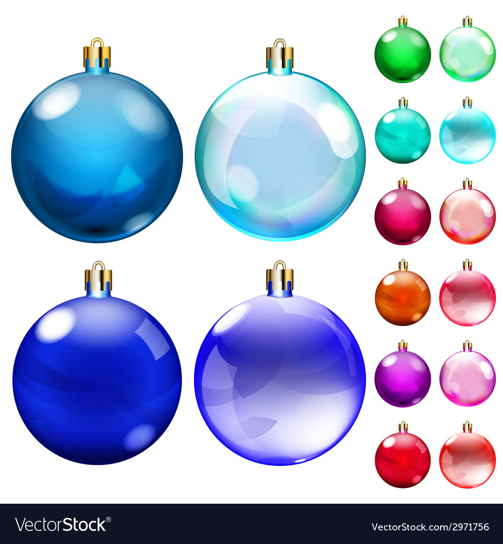 Set of opaque colored Christmas balls