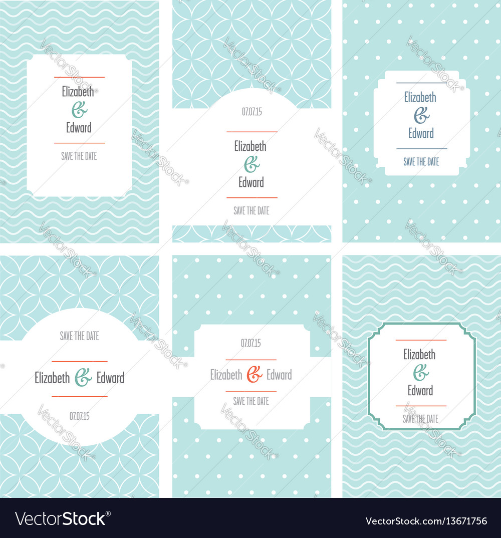 Set wedding cards located on pattern point waves