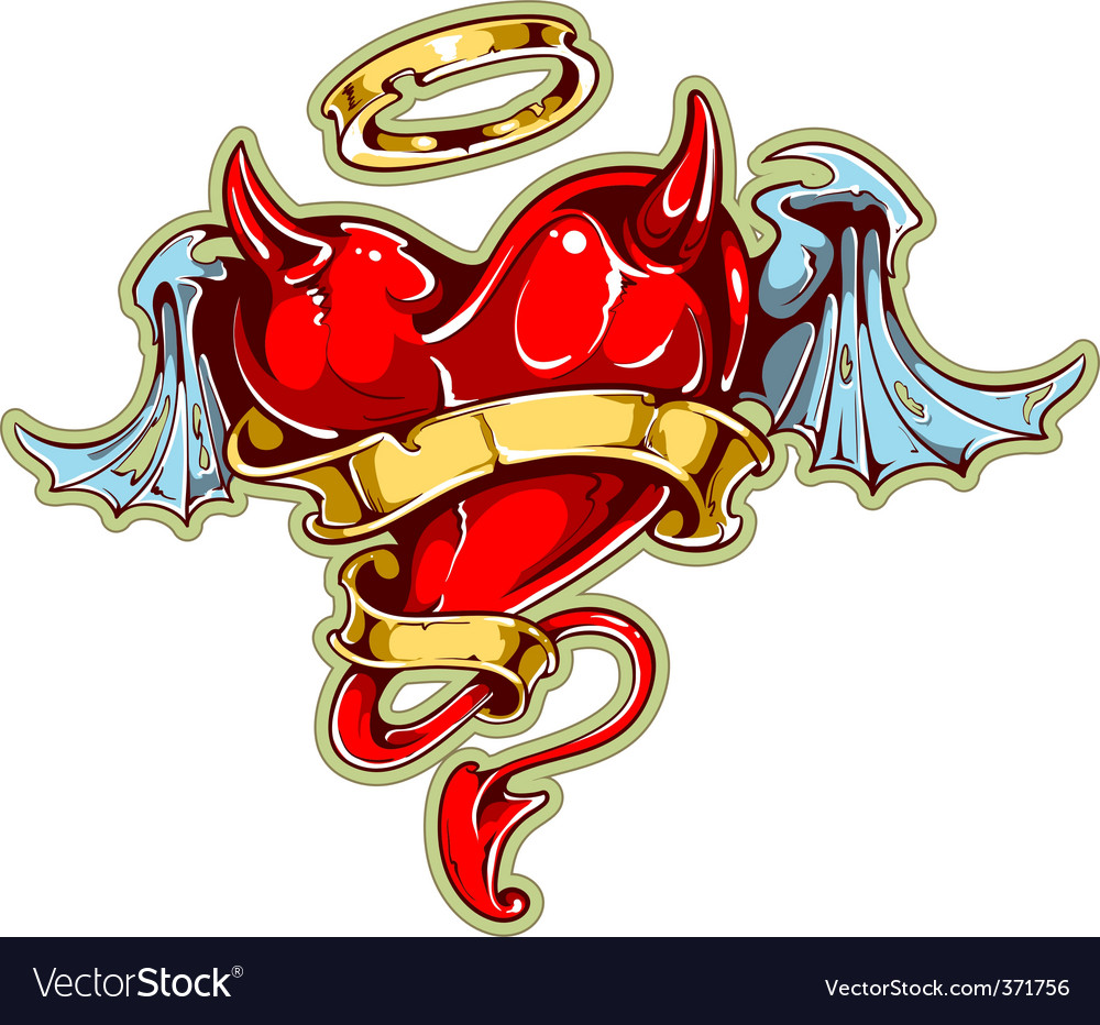 Tattoo styled heart vector image
