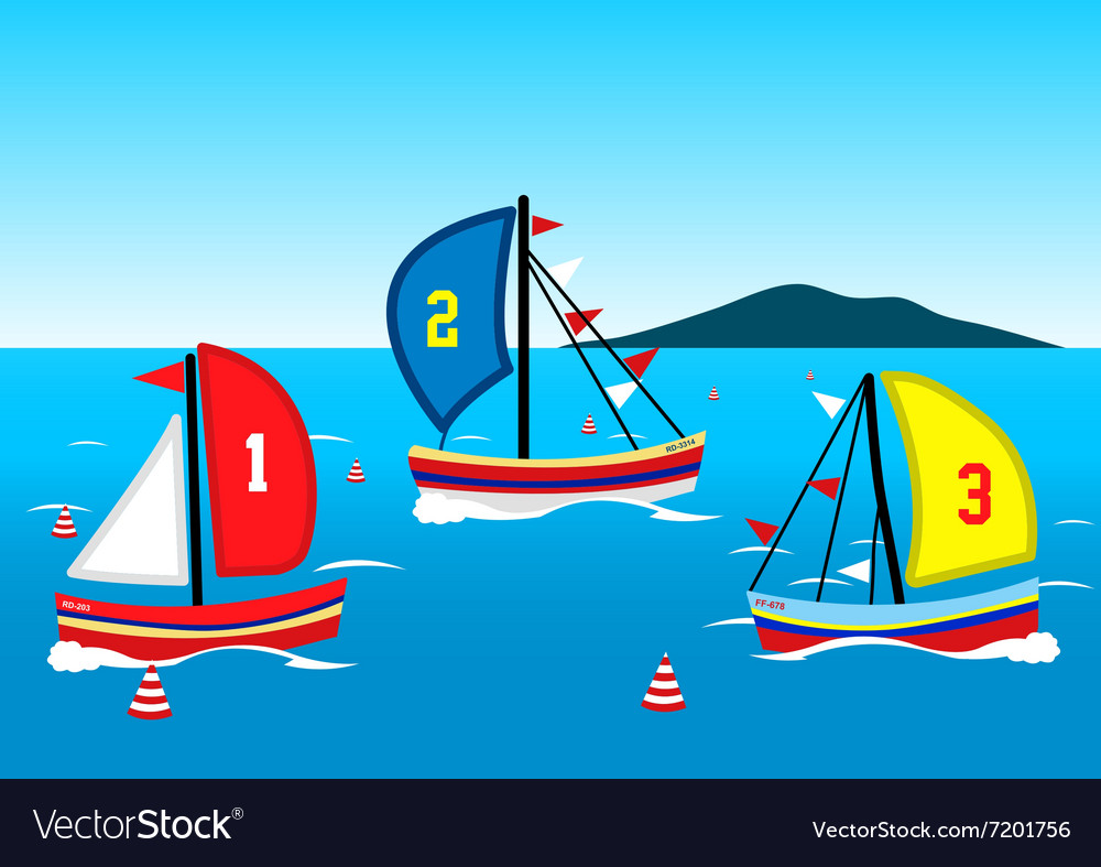 Three sailing boats race on the water