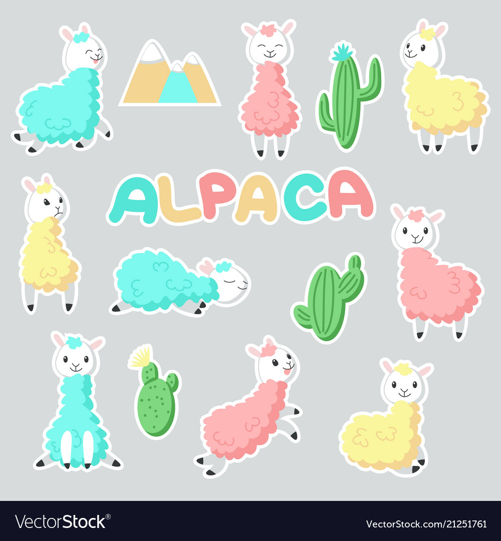 Alpaca stickers hand drawn