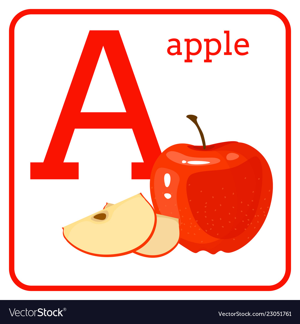 An alphabet with cute fruits letter a apple