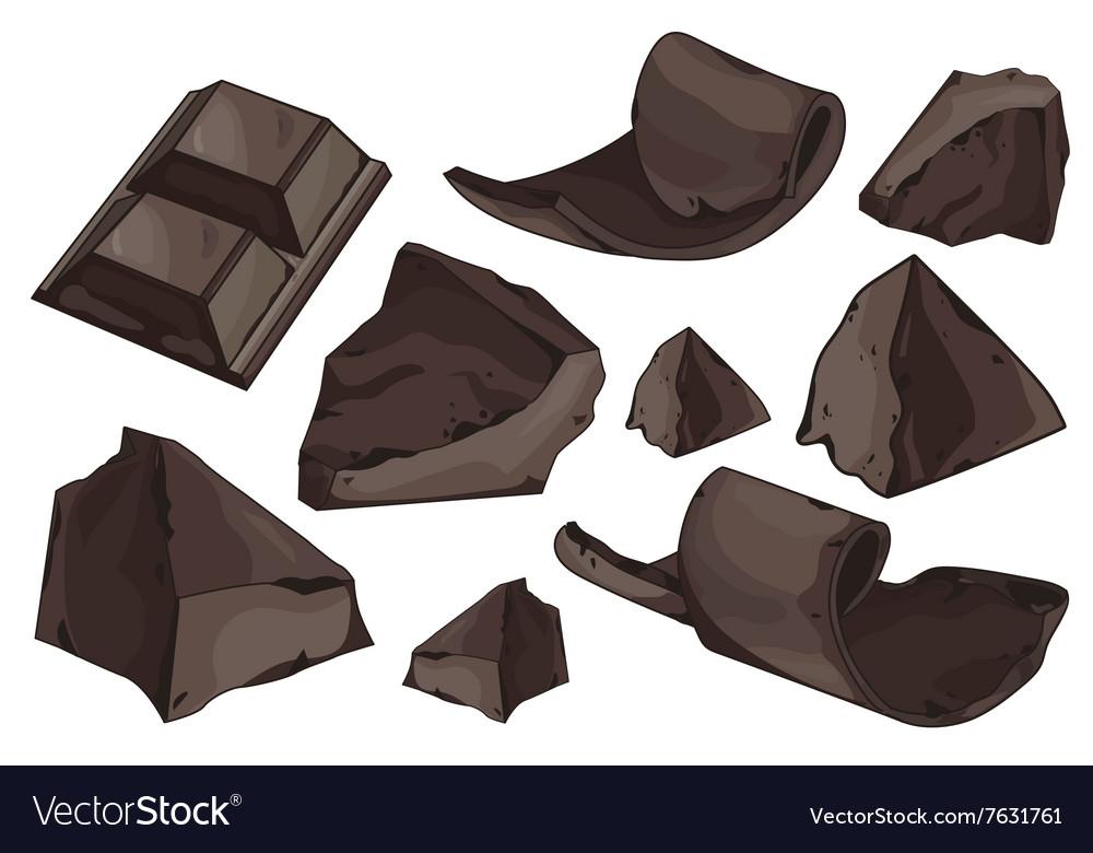 Chocolate shavings set on white background vector image