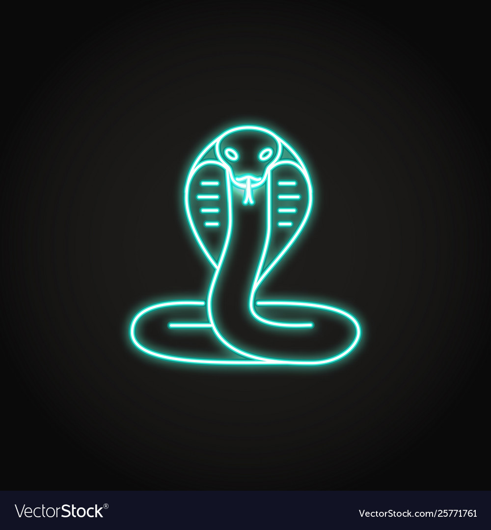 Cobra snake icon in glowing neon style