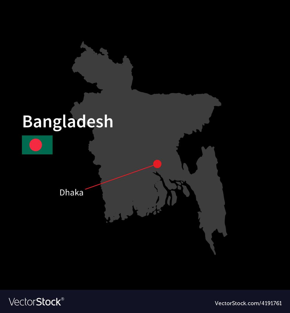 Detailed map of Bangladesh and capital city Dhaka Vector Image