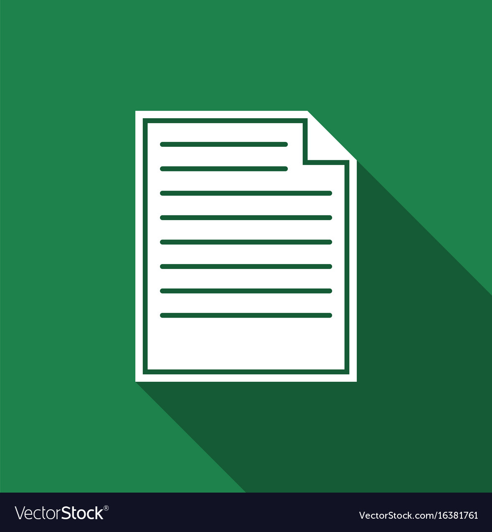 Document icon isolated with long shadow vector image
