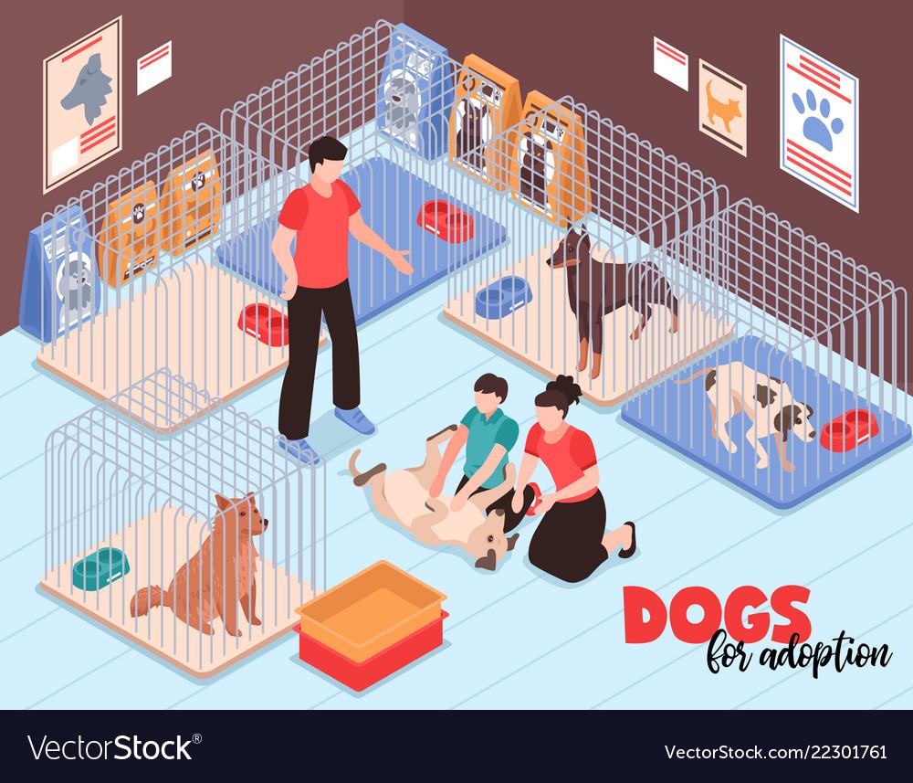 Dog shelter family isometric
