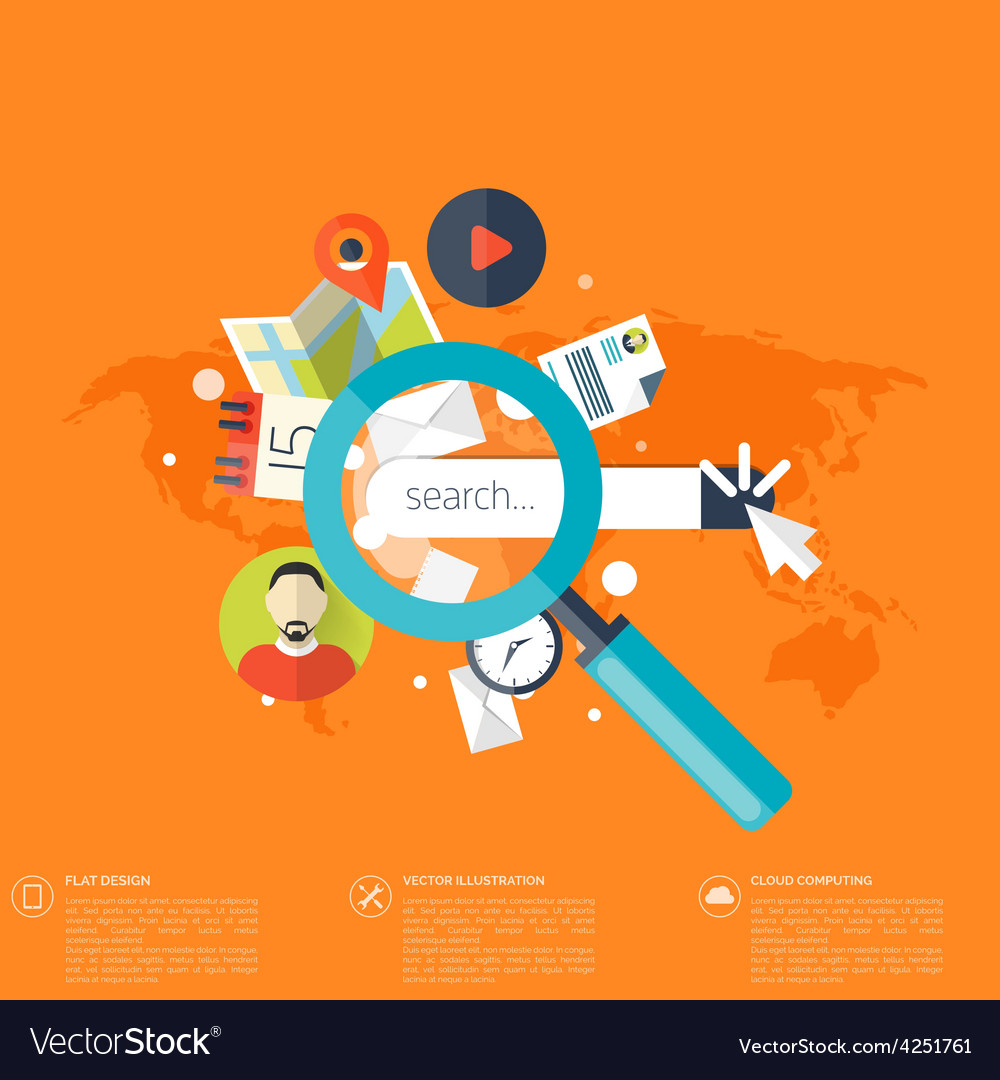 Flat loupe icon SEO Search engine optimization