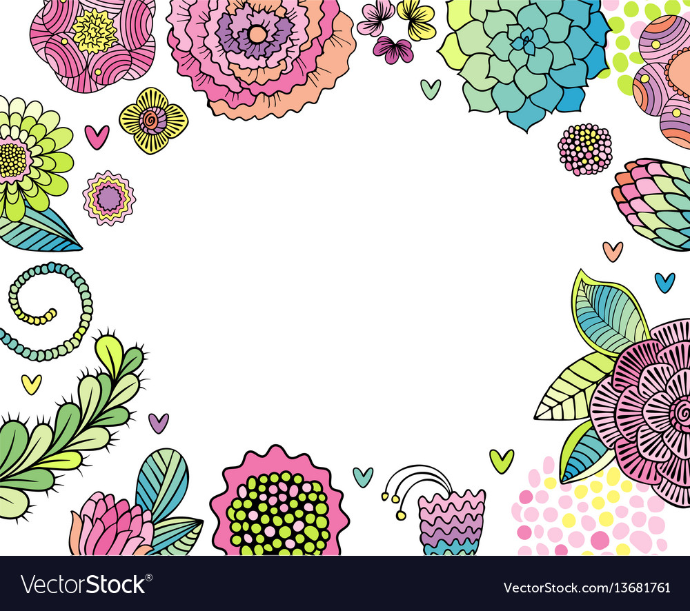 Flower invitation card succulent rose and leaves vector image