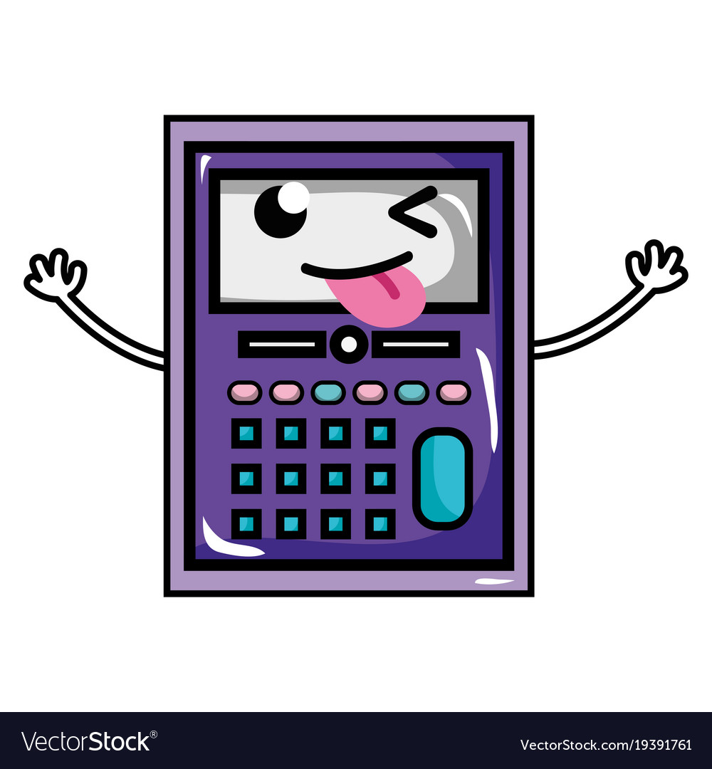 Funny calculator object kawaii with arms
