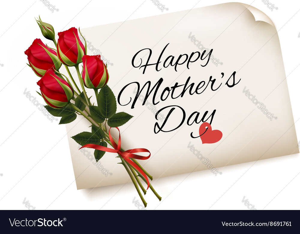 Happy Mothers Day note with red roses background