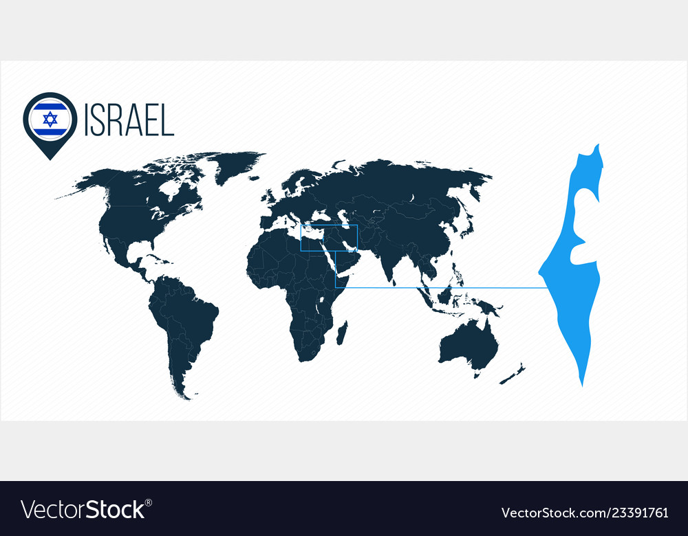 Isreal On World Map.Israel Location On The World Map For Infographics Vector Image