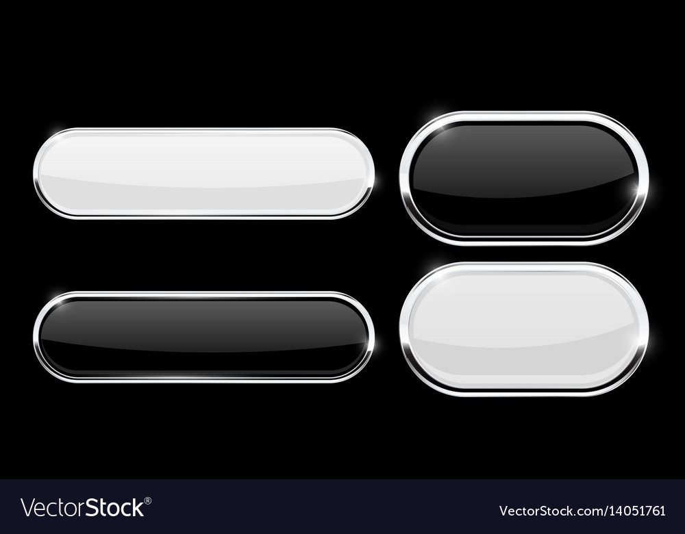 Oval buttons with chrome frame vector image