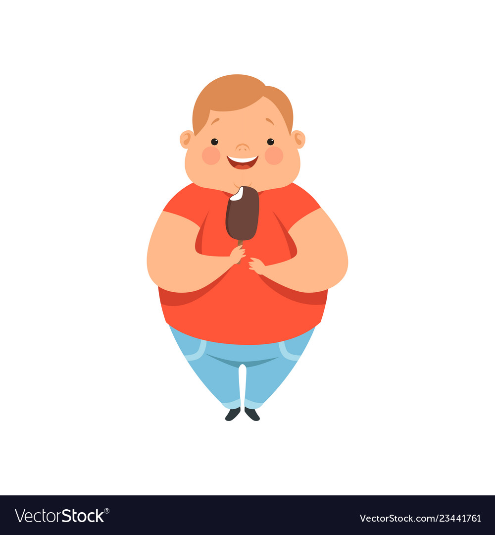 Overweight Boy Eating Ice Cream Cute Chubby Child Vector Image