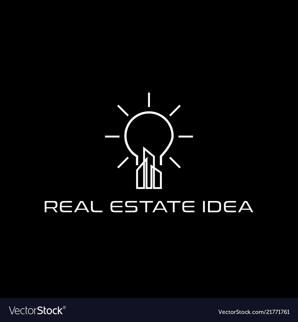 Real estate skyscraper and lamp idea logo design