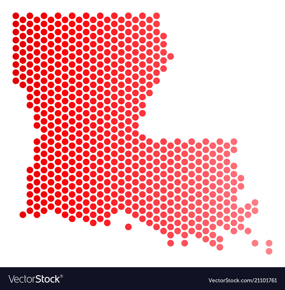 Red dot louisiana state map Royalty Free Vector Image