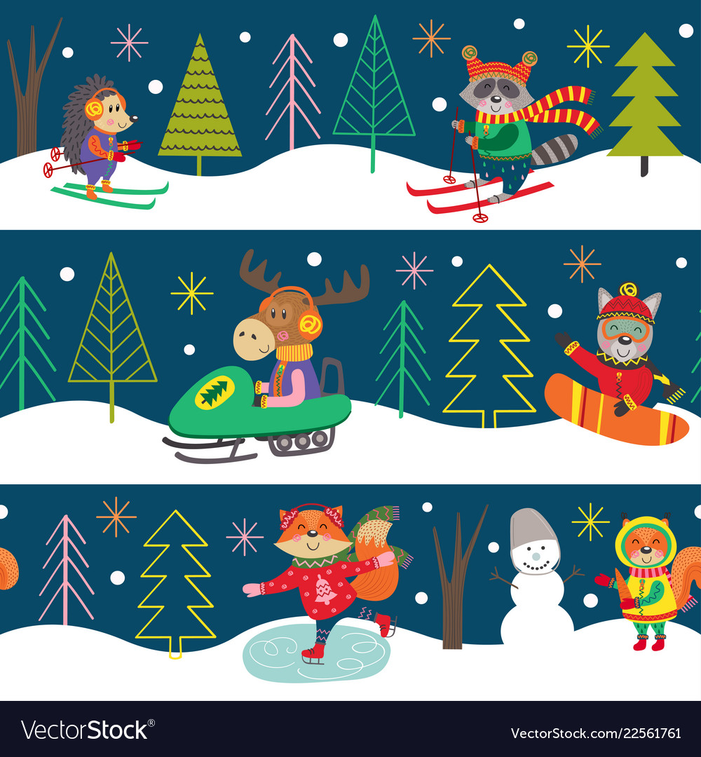 Seamles pattern winter fun with animals