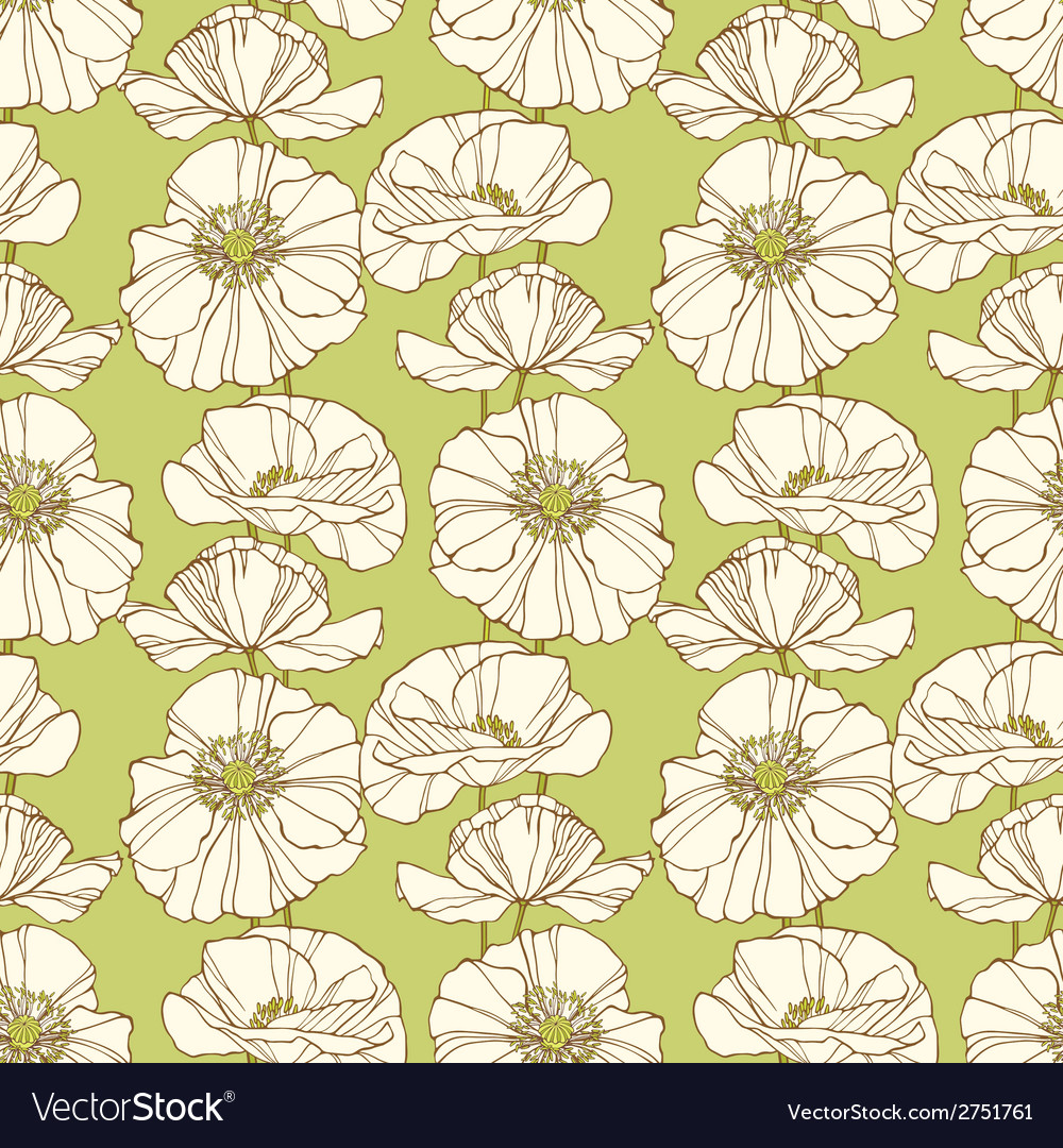 Seamless pattern with poppies Floral background