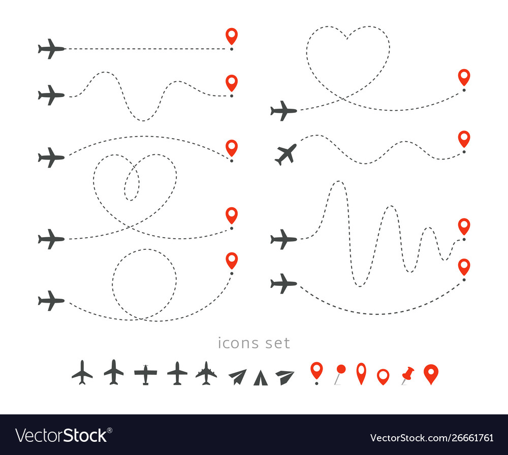 Set icons travel way plane takeoff and
