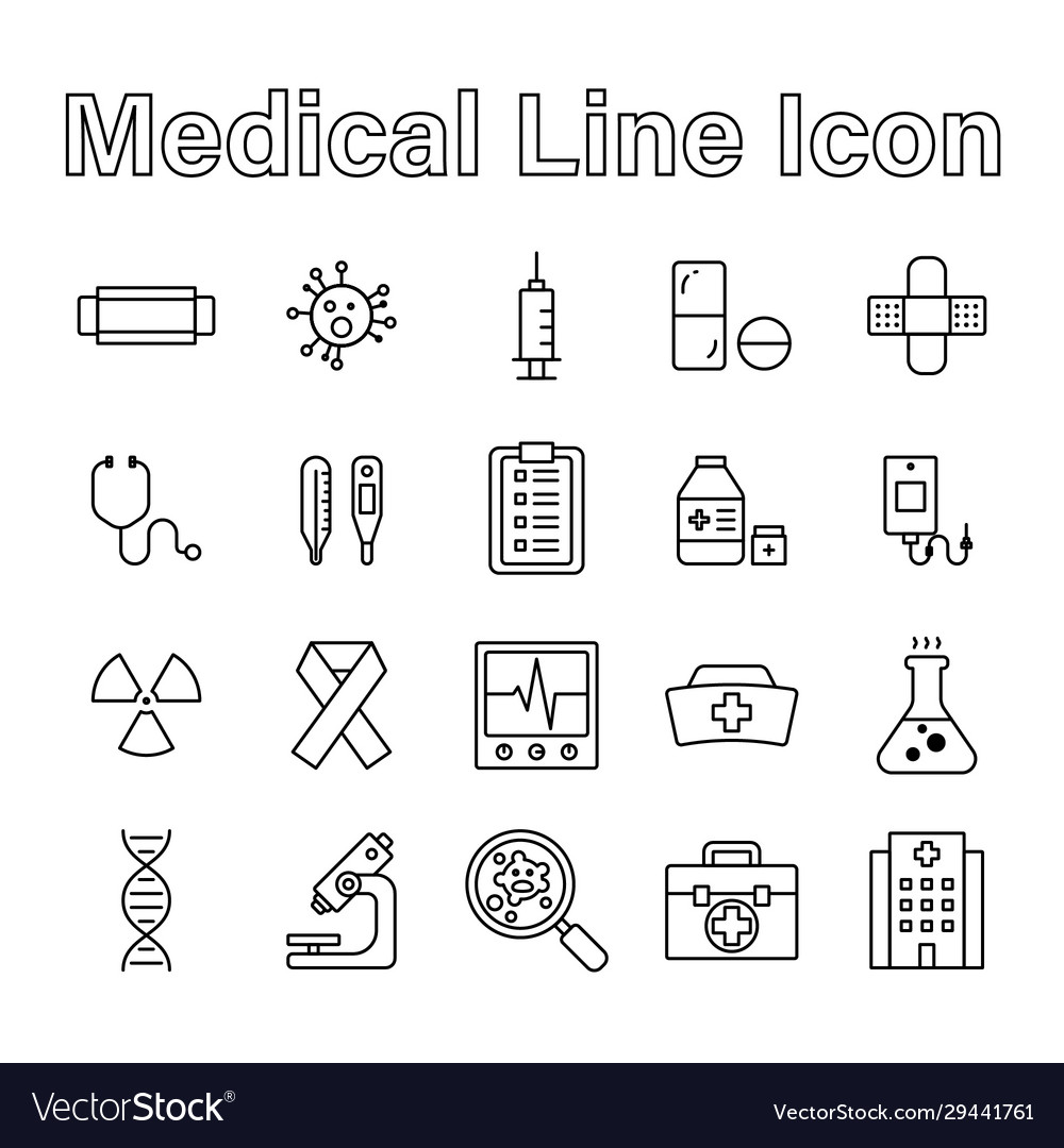 Set medical line icon editable stroke