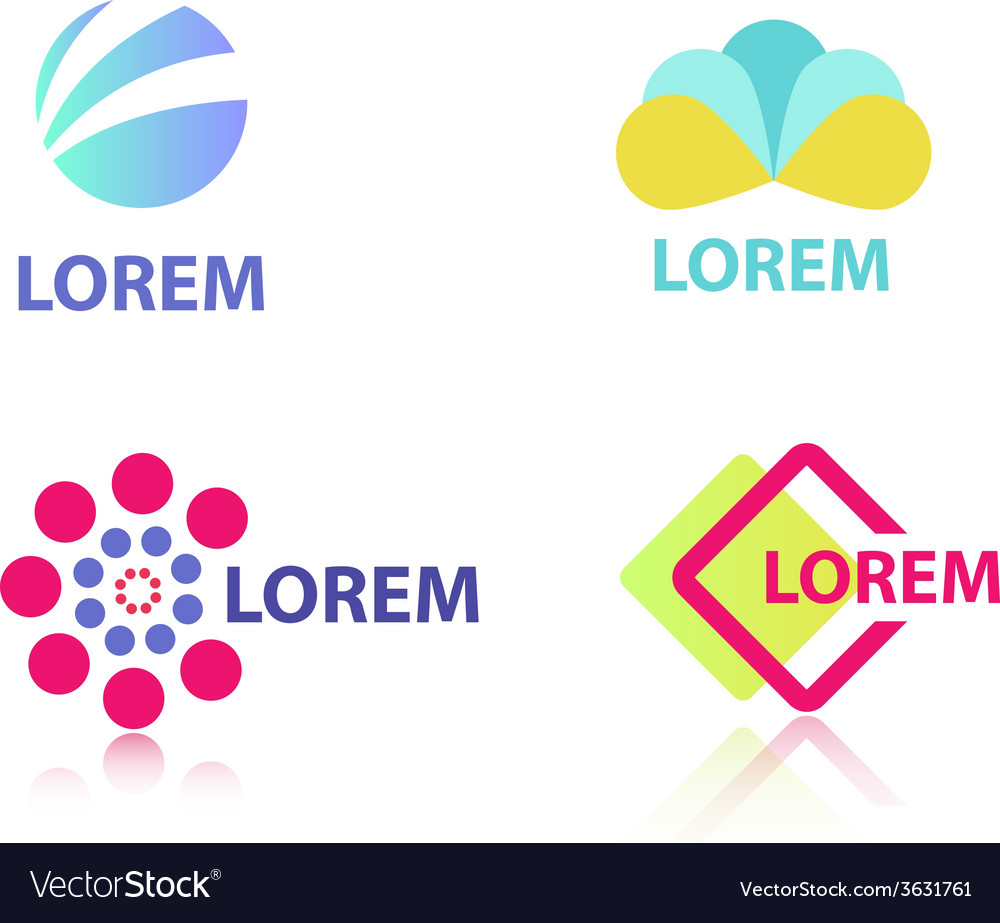 Set of abstract colorful creative geometric icons