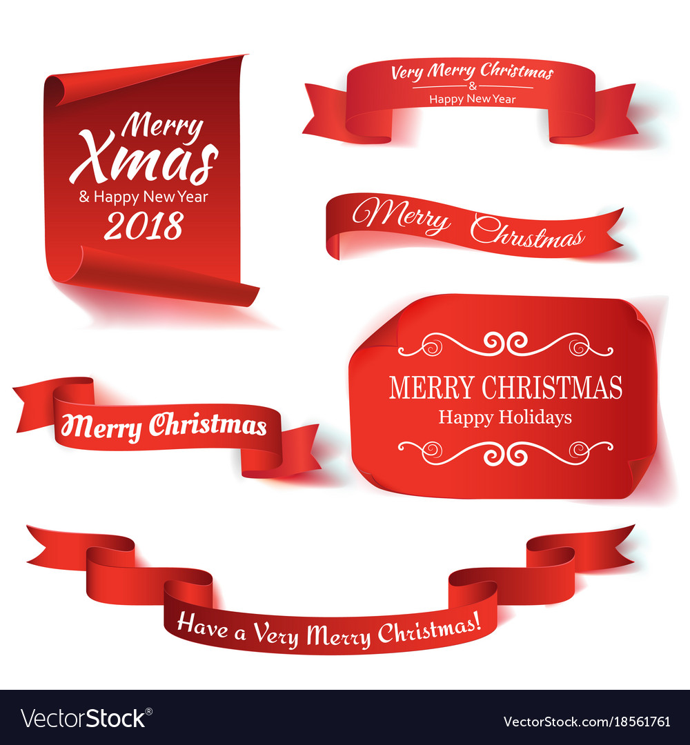 Set of six red merry christmas realistic paper