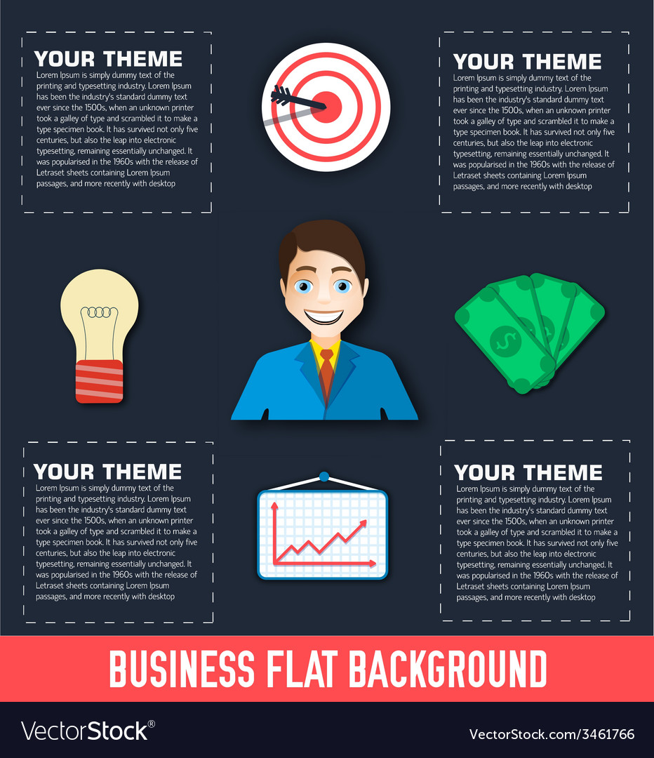 Business flat infographic template with text